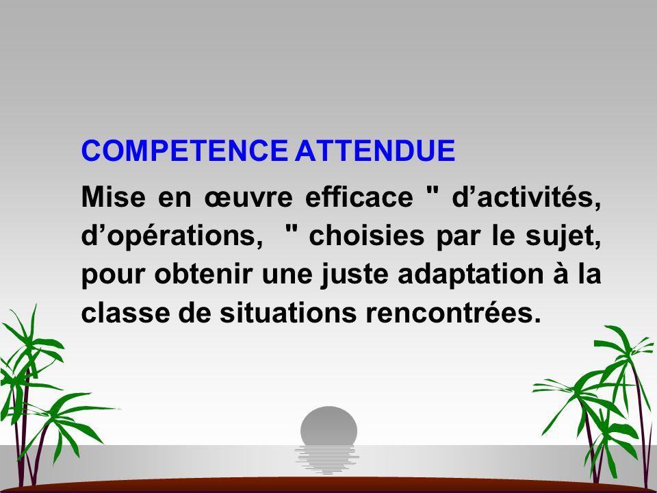 COMPETENCE ATTENDUE Mise en œuvre efficace