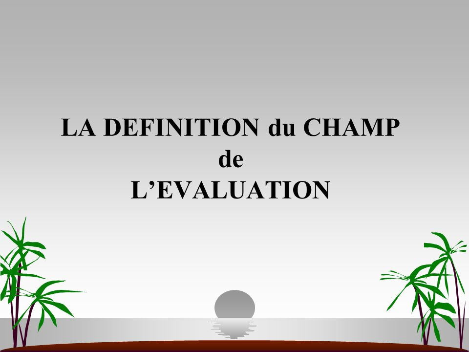 LA DEFINITION du CHAMP de LEVALUATION