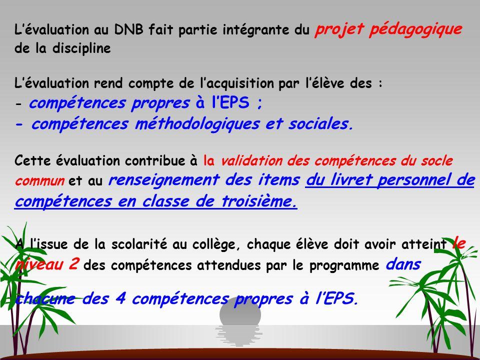 Lévaluation au DNB fait partie intégrante du projet pédagogique de la discipline Lévaluation rend compte de lacquisition par lélève des : - compétence