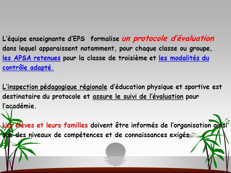 Léquipe enseignante dEPS formalise un protocole dévaluation dans lequel apparaissent notamment, pour chaque classe ou groupe, les APSA retenues pour l