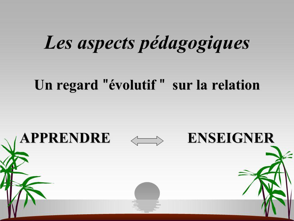 Les aspects pédagogiques Un regard ʺ évolutif ʺ sur la relation APPRENDRE ENSEIGNER