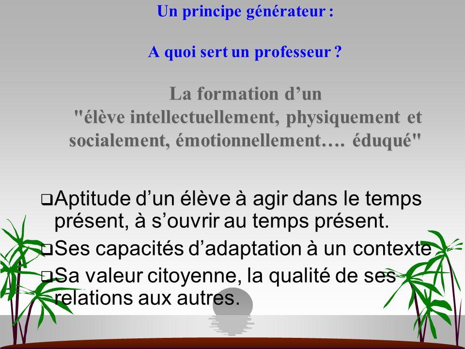 Un principe générateur : A quoi sert un professeur ? La formation dun