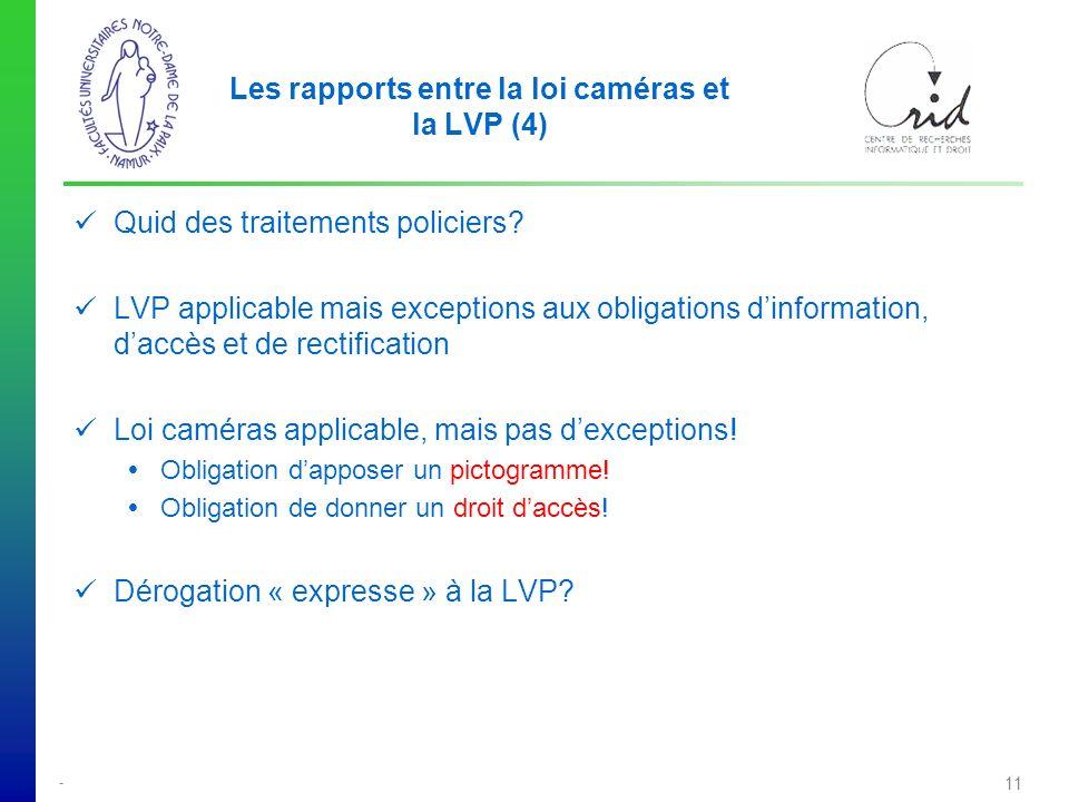 - 11 Les rapports entre la loi caméras et la LVP (4) Quid des traitements policiers.