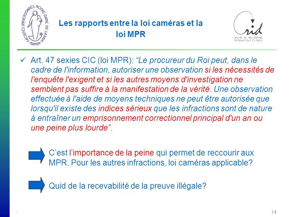 - 14 Les rapports entre la loi caméras et la loi MPR Art.