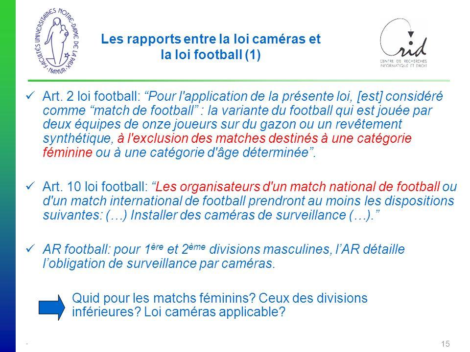 - 15 Les rapports entre la loi caméras et la loi football (1) Art.