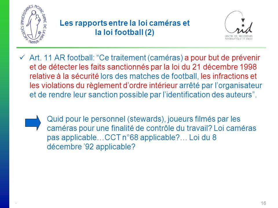 - 16 Les rapports entre la loi caméras et la loi football (2) Art.