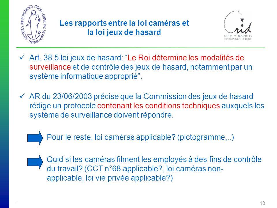 - 18 Les rapports entre la loi caméras et la loi jeux de hasard Art.