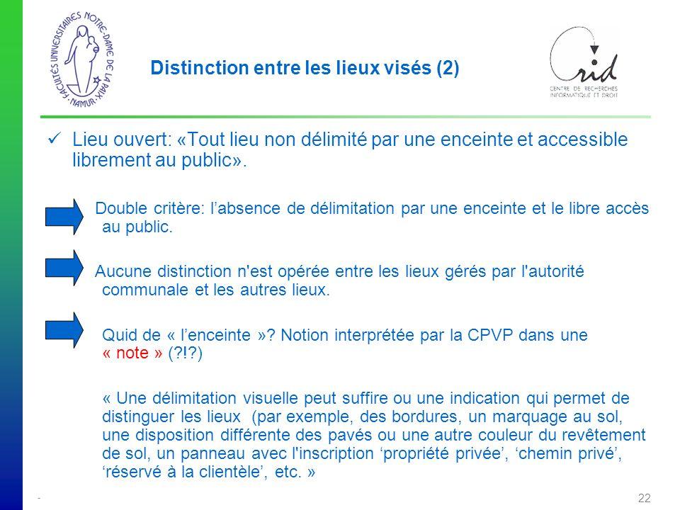 - 22 Distinction entre les lieux visés (2) Lieu ouvert: «Tout lieu non délimité par une enceinte et accessible librement au public».