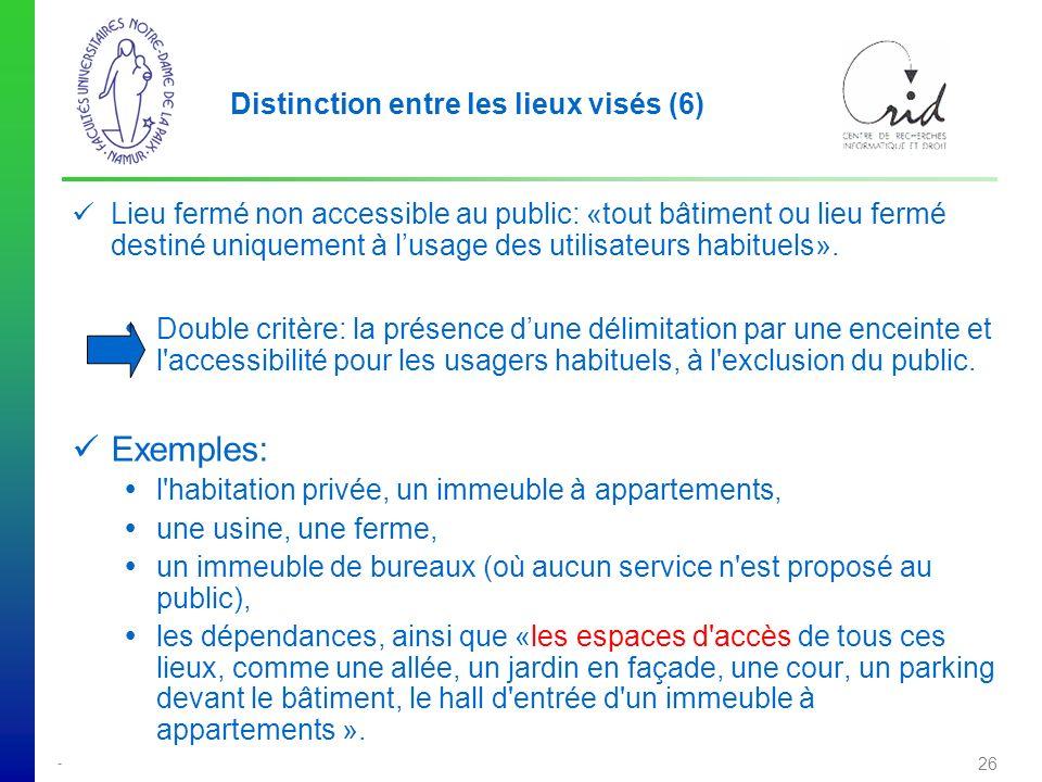 - 26 Distinction entre les lieux visés (6) Lieu fermé non accessible au public: «tout bâtiment ou lieu fermé destiné uniquement à lusage des utilisateurs habituels».