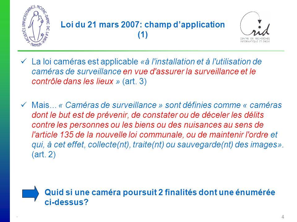 - 4 Loi du 21 mars 2007: champ dapplication (1) La loi caméras est applicable «à l installation et à l utilisation de caméras de surveillance en vue d assurer la surveillance et le contrôle dans les lieux » (art.