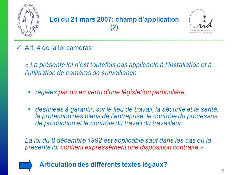 - 5 Loi du 21 mars 2007: champ dapplication (2) Art.