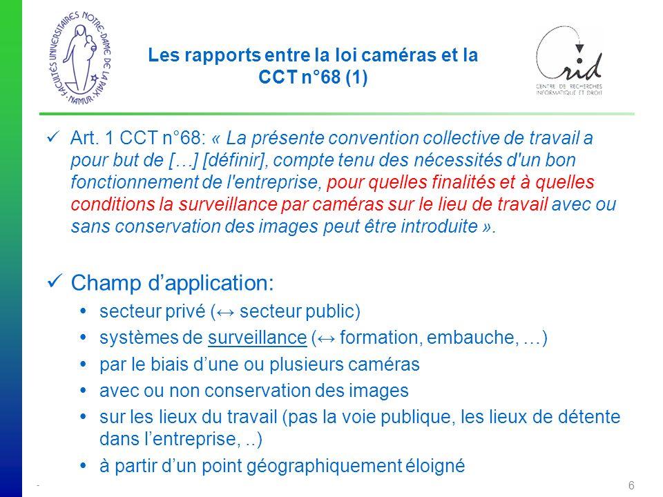 - 6 Les rapports entre la loi caméras et la CCT n°68 (1) Art.