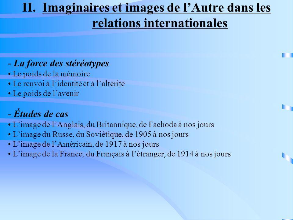 II. Imaginaires et images de lAutre dans les relations internationales - La force des stéréotypes Le poids de la mémoire Le renvoi à lidentité et à la