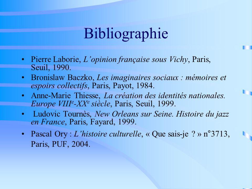 Bibliographie Pierre Laborie, Lopinion française sous Vichy, Paris, Seuil, 1990. Bronislaw Baczko, Les imaginaires sociaux : mémoires et espoirs colle