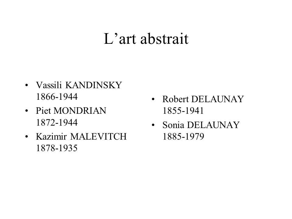 Lart abstrait Vassili KANDINSKY 1866-1944 Piet MONDRIAN 1872-1944 Kazimir MALEVITCH 1878-1935 Robert DELAUNAY 1855-1941 Sonia DELAUNAY 1885-1979