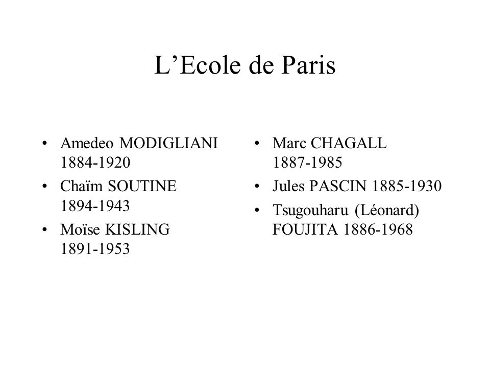 LEcole de Paris Amedeo MODIGLIANI 1884-1920 Chaïm SOUTINE 1894-1943 Moïse KISLING 1891-1953 Marc CHAGALL 1887-1985 Jules PASCIN 1885-1930 Tsugouharu (