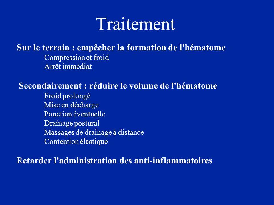 Sur le terrain : empêcher la formation de l'hématome Compression et froid Arrêt immédiat Secondairement : réduire le volume de l'hématome Froid prolon