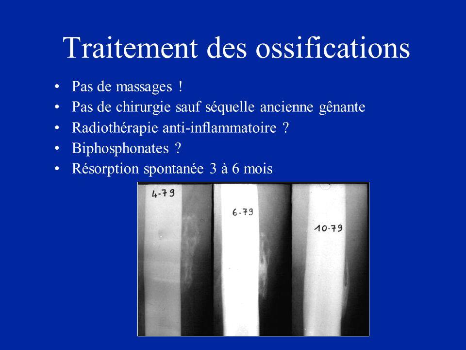 Traitement des ossifications Pas de massages ! Pas de chirurgie sauf séquelle ancienne gênante Radiothérapie anti-inflammatoire ? Biphosphonates ? Rés