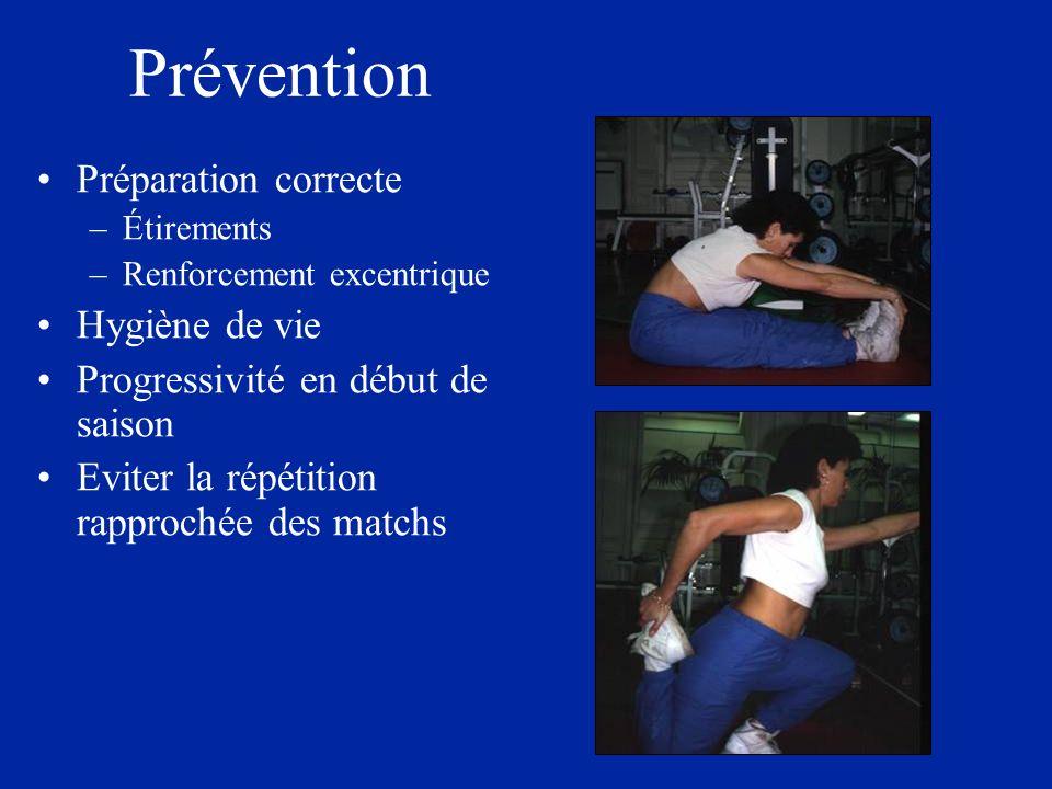 Prévention Préparation correcte –Étirements –Renforcement excentrique Hygiène de vie Progressivité en début de saison Eviter la répétition rapprochée