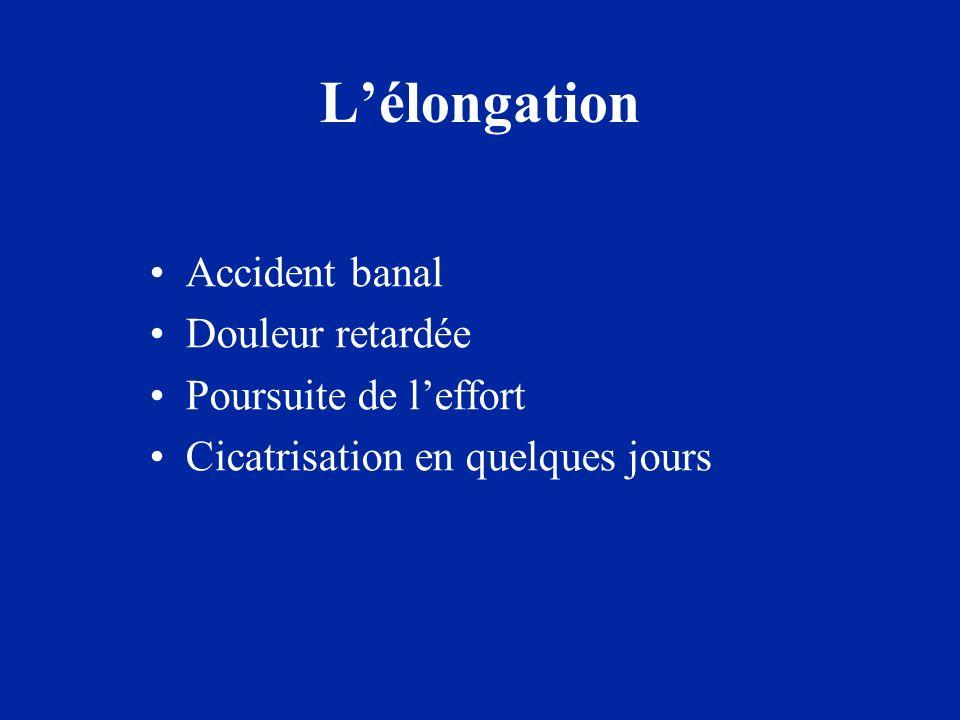 La déchirure ou claquage Rupture de plusieurs fibres Douleur brutale Arrêt de leffort, boiterie Récupération en 4 à 6 semaines