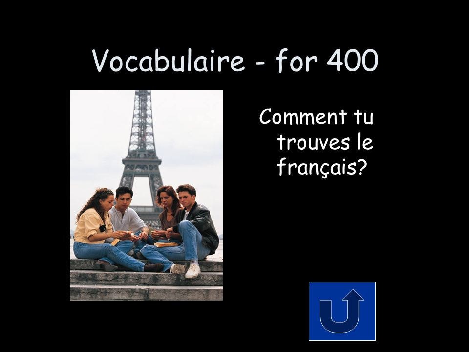 Vocabulaire - for 400 Comment tu trouves le français?