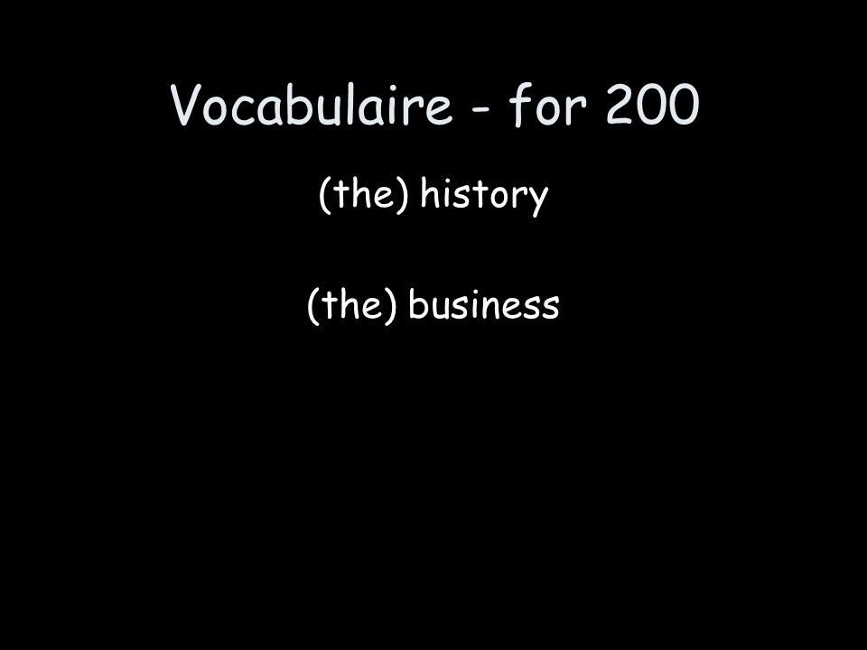 Vocabulaire - for 200 lhistoire le commerce