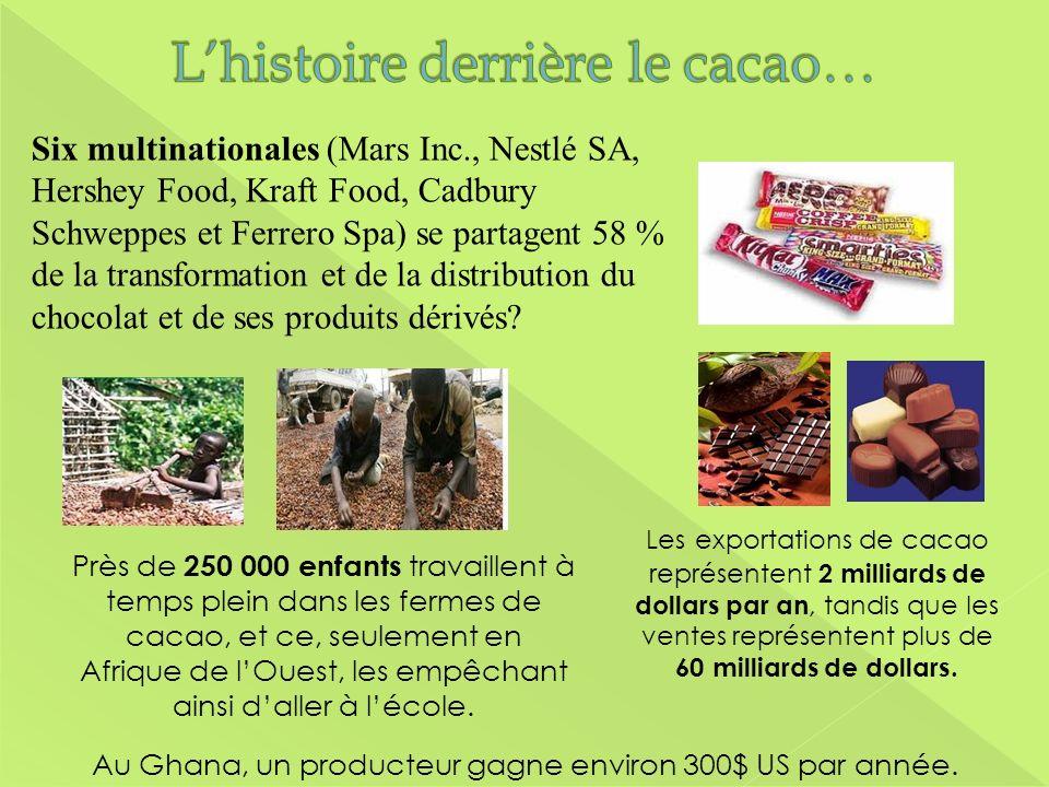 Les exportations de cacao représentent 2 milliards de dollars par an, tandis que les ventes représentent plus de 60 milliards de dollars. Près de 250