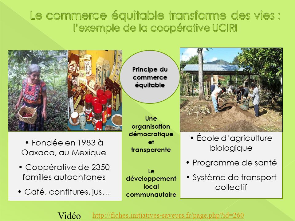 Fondée en 1983 à Oaxaca, au Mexique Coopérative de 2350 familles autochtones Café, confitures, jus… École dagriculture biologique Programme de santé S