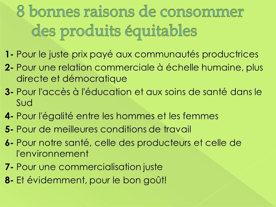 1- Pour le juste prix payé aux communautés productrices 2- Pour une relation commerciale à échelle humaine, plus directe et démocratique 3- Pour l'acc