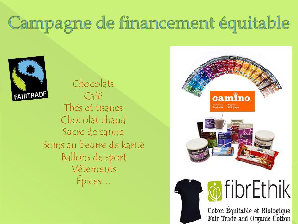 Chocolats Café Thés et tisanes Chocolat chaud Sucre de canne Soins au beurre de karité Ballons de sport Vêtements Épices…