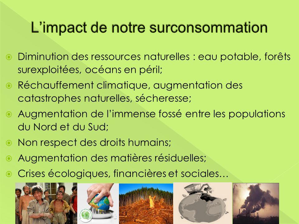 Diminution des ressources naturelles : eau potable, forêts surexploitées, océans en péril; Réchauffement climatique, augmentation des catastrophes nat