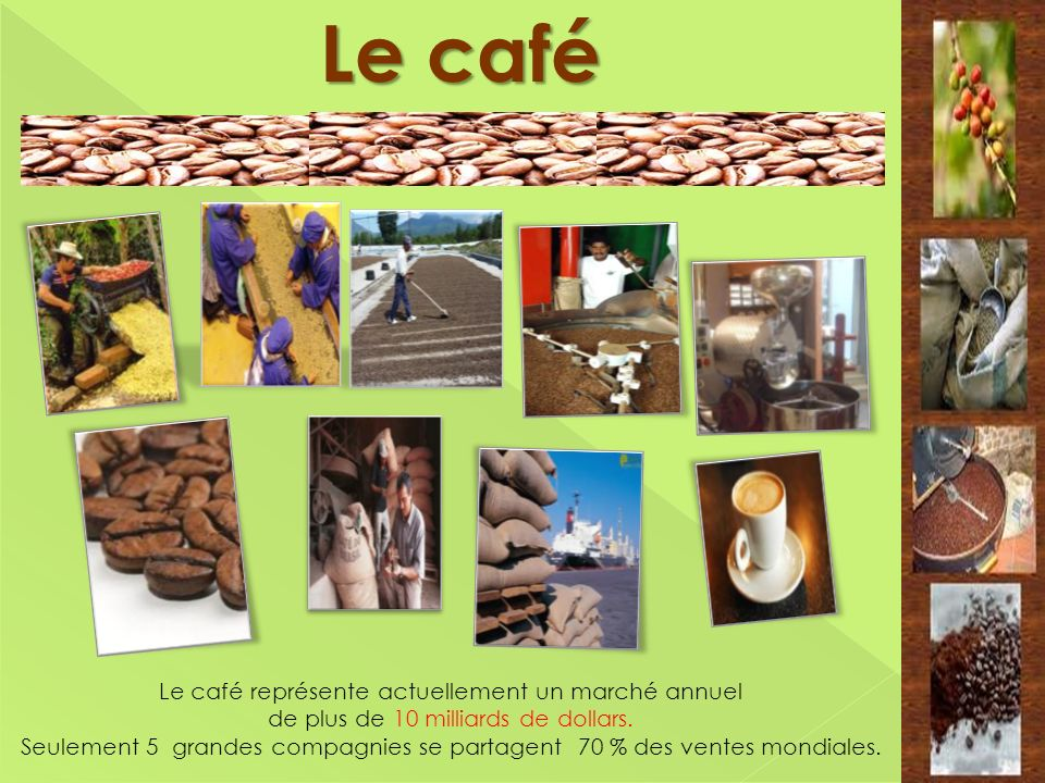 Le café Le café représente actuellement un marché annuel de plus de 10 milliards de dollars. Seulement 5 grandes compagnies se partagent 70 % des vent