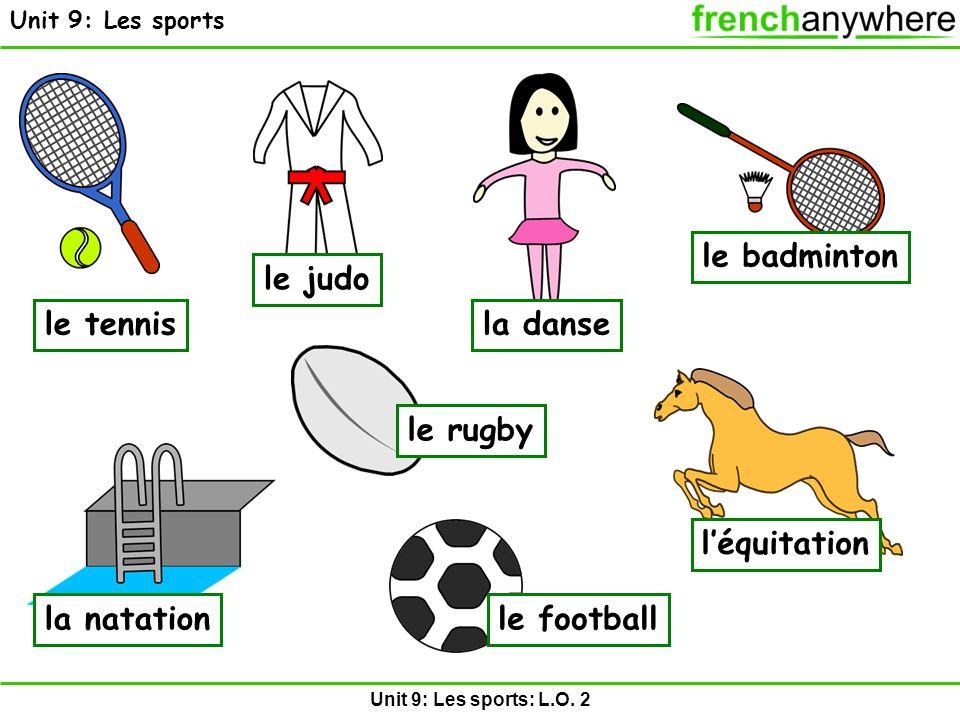 Unit 9: Les sports: L.O. 2 Unit 9: Les sports le tennis le judo le rugby le badminton le football léquitation la natation la danse