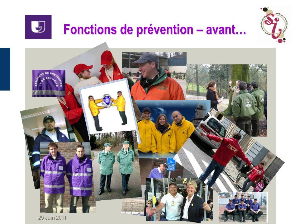 29 Juin 2011 2 Fonctions de prévention – avant…