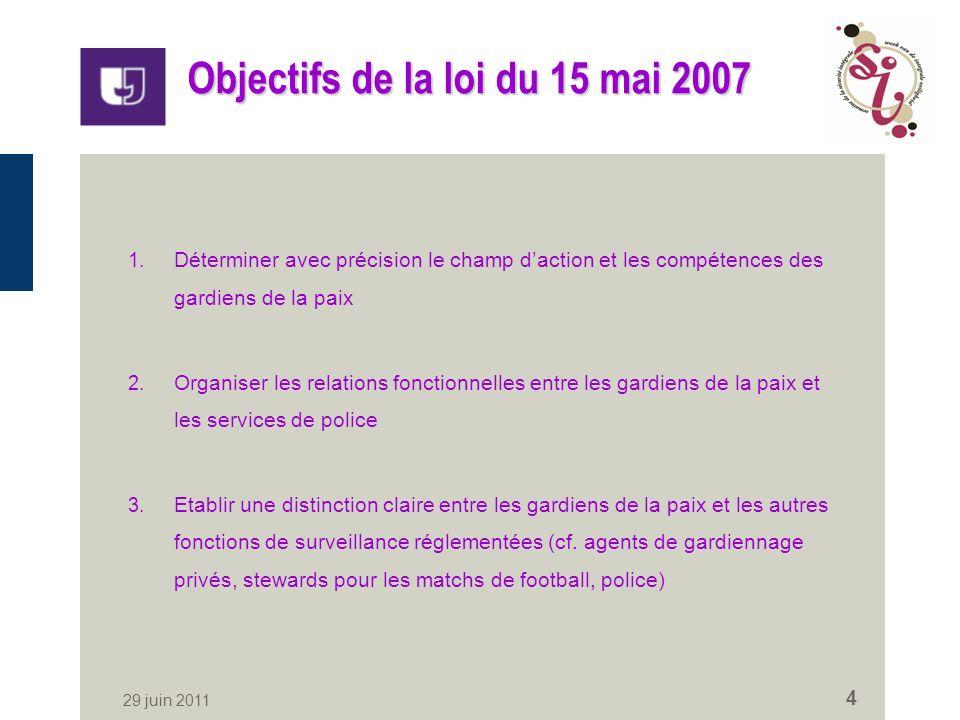 29 juin 2011 4 Objectifs de la loi du 15 mai 2007 1.