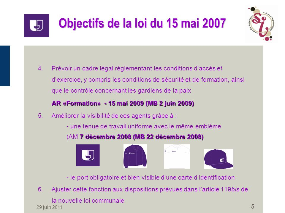 29 juin 2011 5 Objectifs de la loi du 15 mai 2007 4.