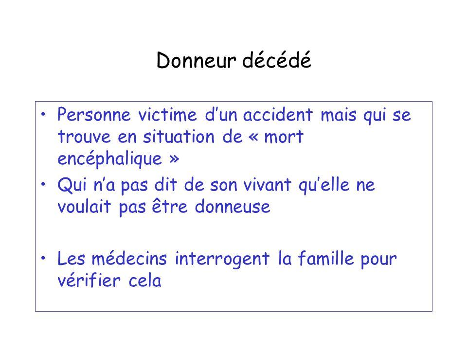 Donneur décédé Personne victime dun accident mais qui se trouve en situation de « mort encéphalique » Qui na pas dit de son vivant quelle ne voulait p