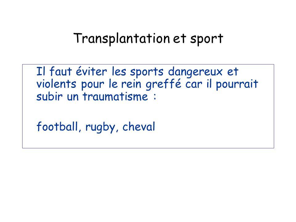 Transplantation et sport Il faut éviter les sports dangereux et violents pour le rein greffé car il pourrait subir un traumatisme : football, rugby, c