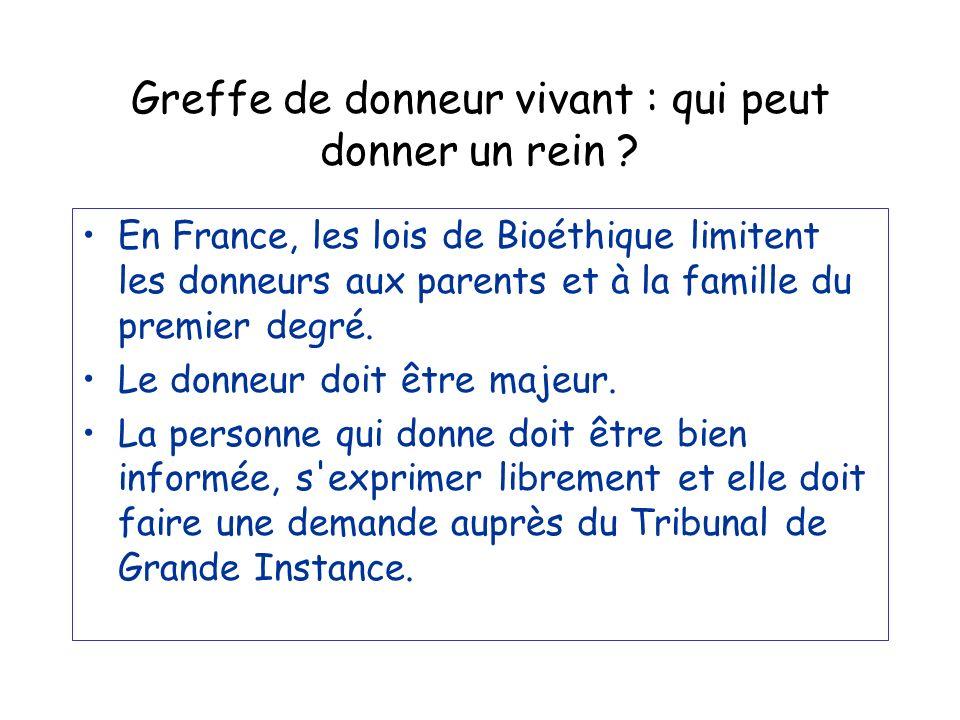 Greffe de donneur vivant : qui peut donner un rein ? En France, les lois de Bioéthique limitent les donneurs aux parents et à la famille du premier de