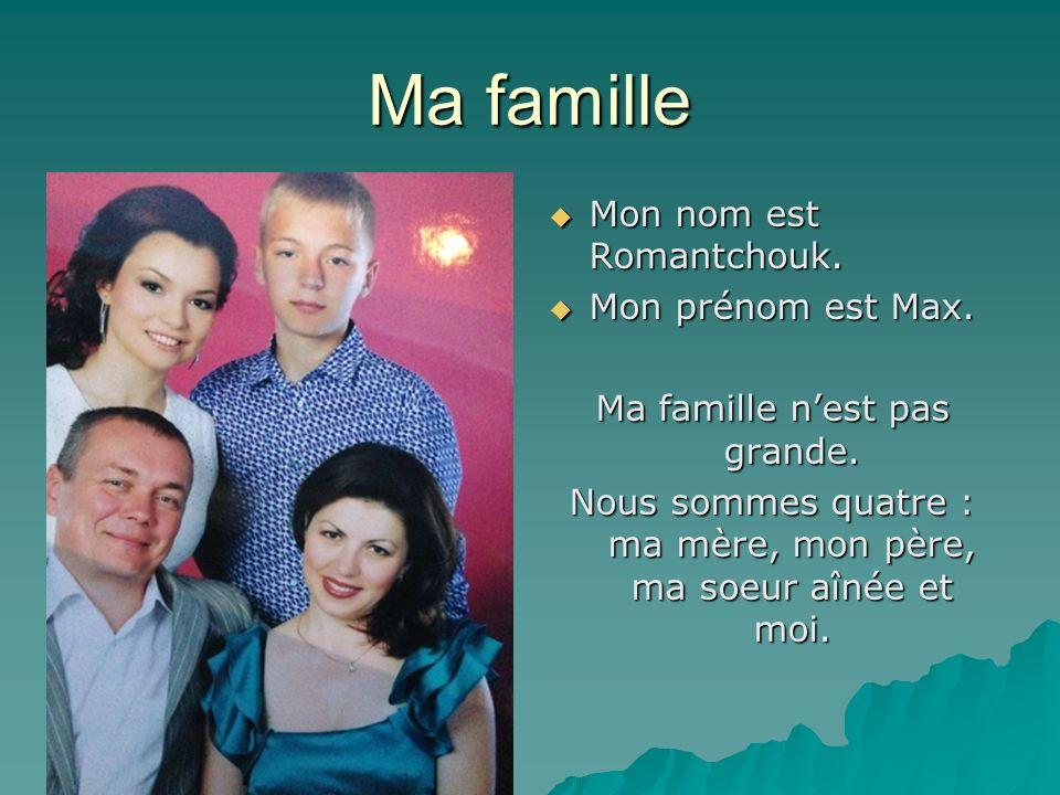 Ma famille Mon nom est Romantchouk. Mon nom est Romantchouk. Mon prénom est Max. Mon prénom est Max. Ma famille nest pas grande. Nous sommes quatre :