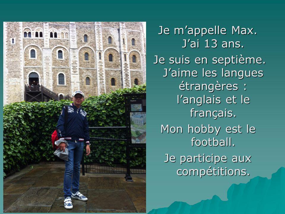 Je mappelle Max. Jai 13 ans. Je suis en septième. Jaime les langues étrangères : langlais et le français. Je suis en septième. Jaime les langues étran