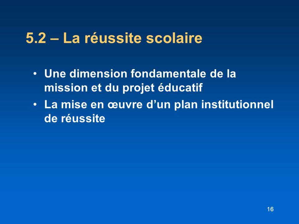 16 5.2 – La réussite scolaire Une dimension fondamentale de la mission et du projet éducatif La mise en œuvre dun plan institutionnel de réussite