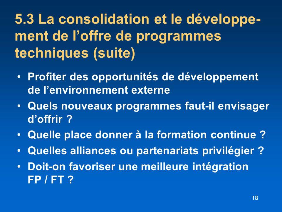 18 5.3 La consolidation et le développe- ment de loffre de programmes techniques (suite) Profiter des opportunités de développement de lenvironnement