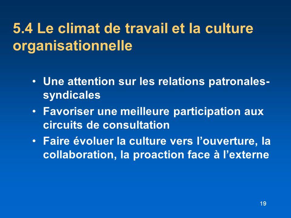 19 5.4 Le climat de travail et la culture organisationnelle Une attention sur les relations patronales- syndicales Favoriser une meilleure participati