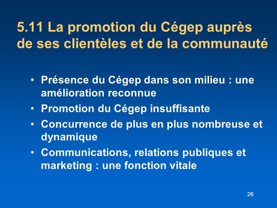 26 5.11 La promotion du Cégep auprès de ses clientèles et de la communauté Présence du Cégep dans son milieu : une amélioration reconnue Promotion du