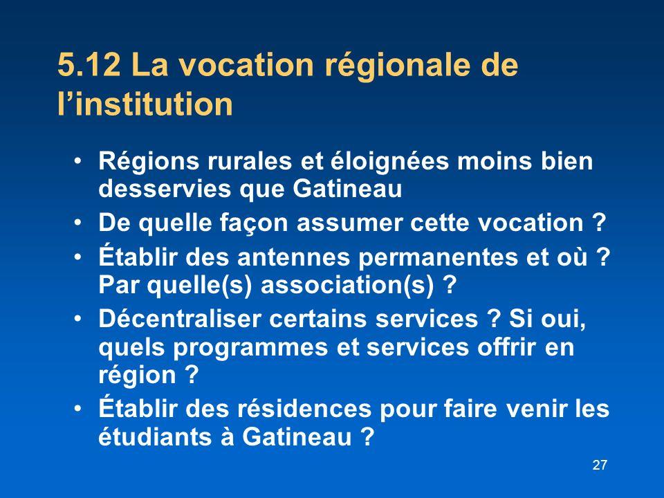 27 5.12 La vocation régionale de linstitution Régions rurales et éloignées moins bien desservies que Gatineau De quelle façon assumer cette vocation ?