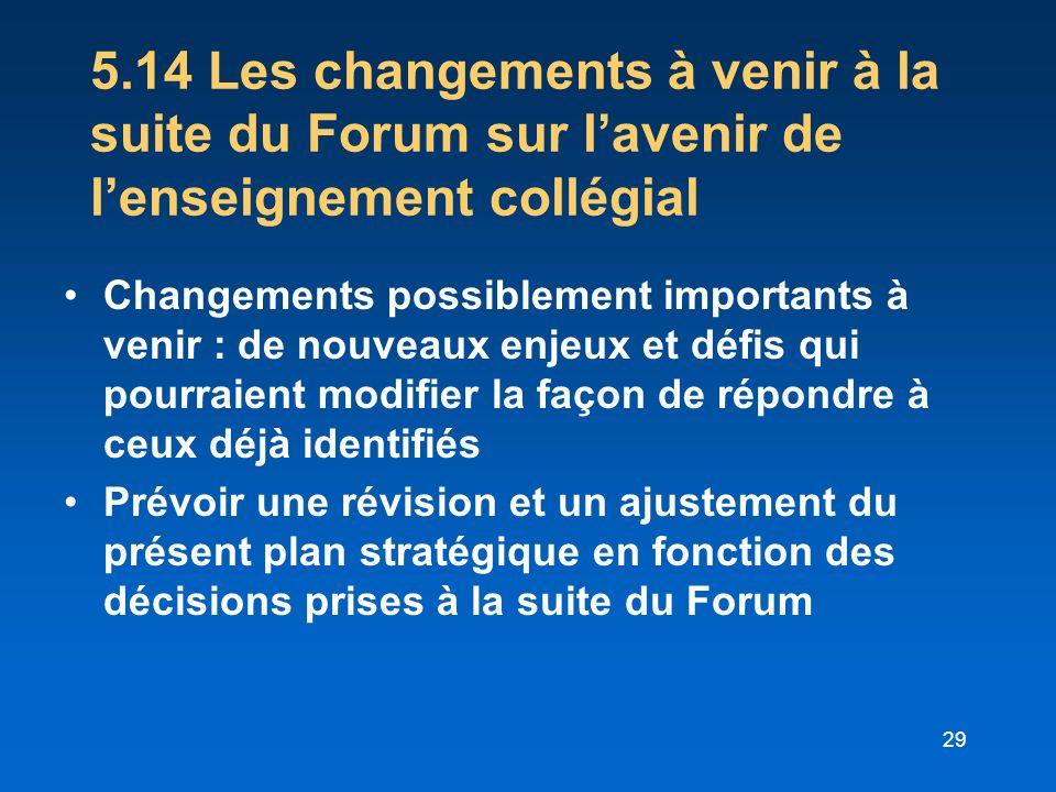 29 5.14 Les changements à venir à la suite du Forum sur lavenir de lenseignement collégial Changements possiblement importants à venir : de nouveaux e