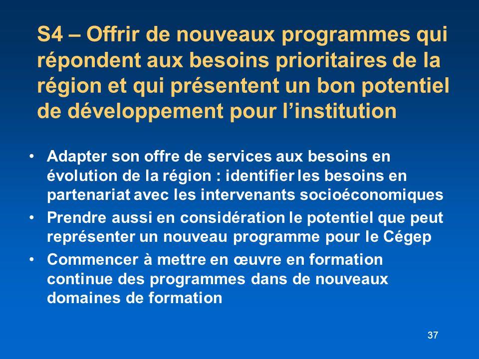 37 S4 – Offrir de nouveaux programmes qui répondent aux besoins prioritaires de la région et qui présentent un bon potentiel de développement pour lin