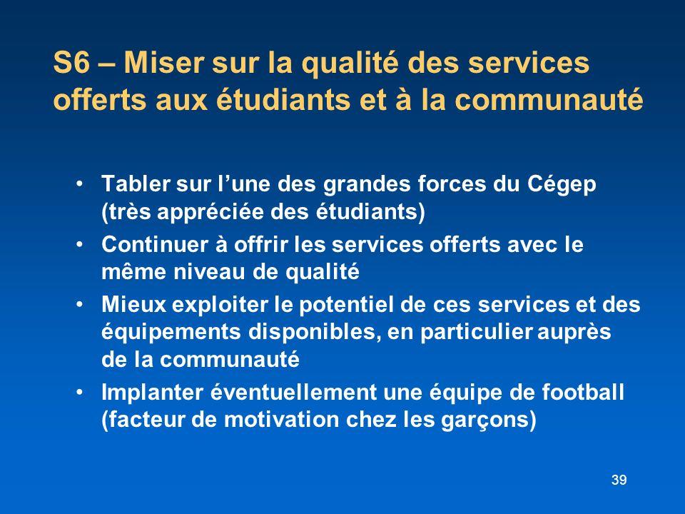39 S6 – Miser sur la qualité des services offerts aux étudiants et à la communauté Tabler sur lune des grandes forces du Cégep (très appréciée des étu