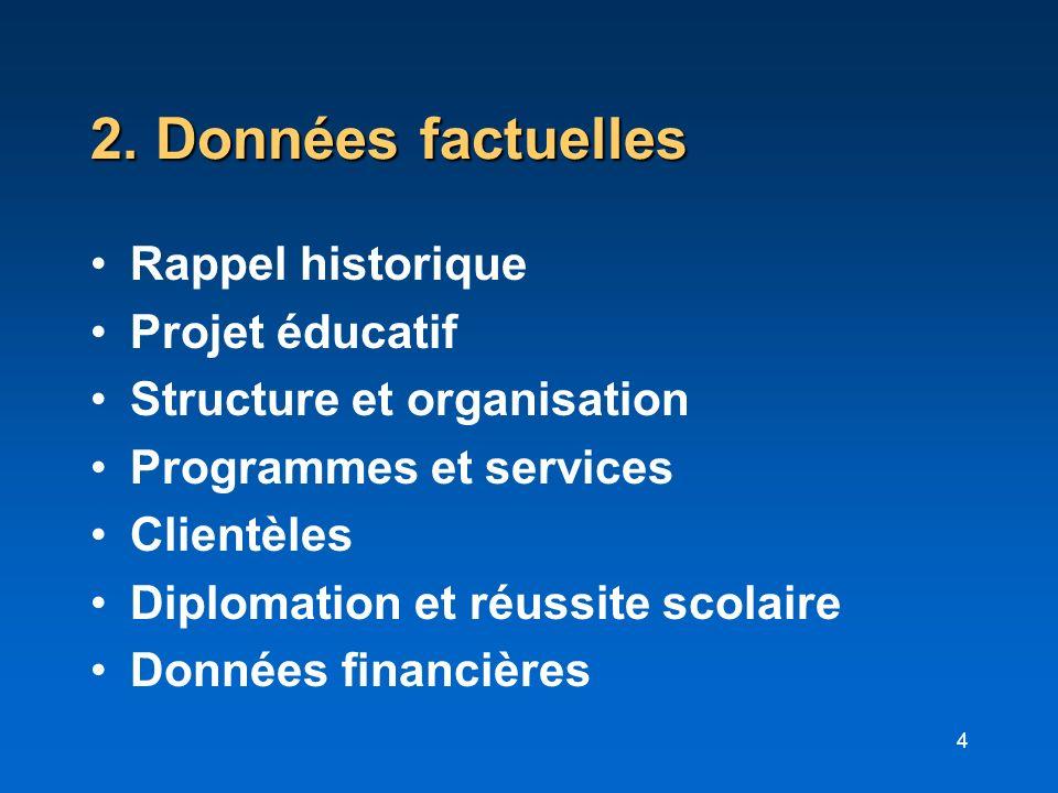 4 2. Données factuelles Rappel historique Projet éducatif Structure et organisation Programmes et services Clientèles Diplomation et réussite scolaire
